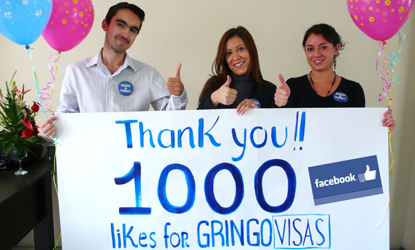 GRINGO VISAS GETS 1,000+ LIKES ON FACEBOOK 1st WEEK!